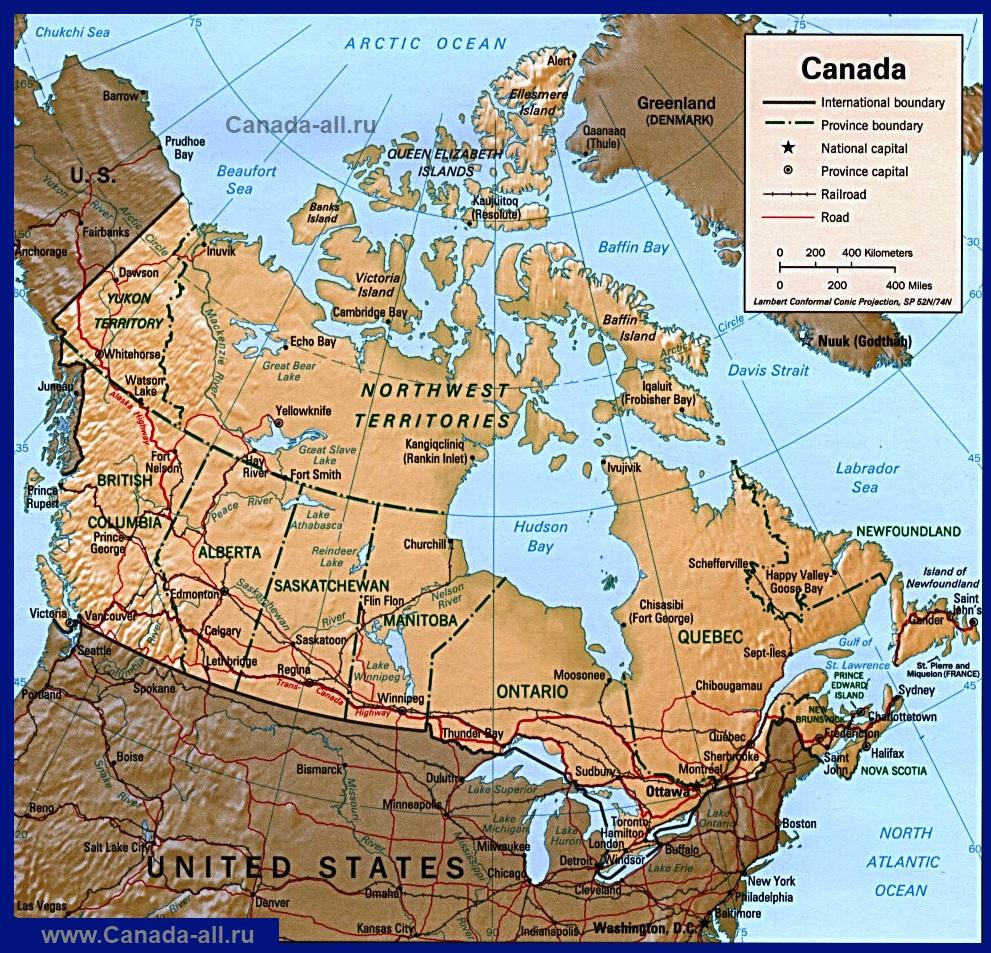 Карта Канады. Подробные карты канады с городами на русском ...: http://canada-all.ru/karty-kanady/