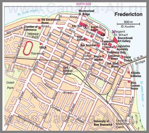 Карта Фредериктона с достопримечательностями