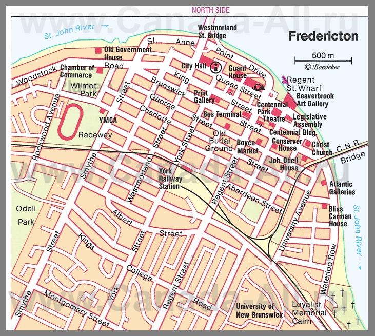 Карта фредериктона с