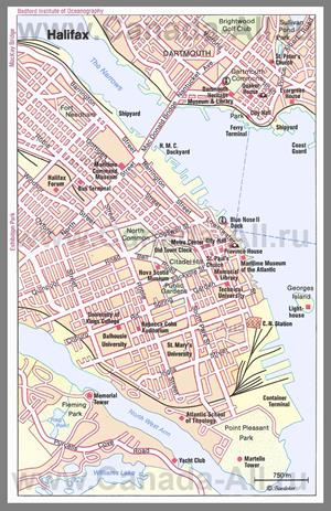 Туристическая карта Галифакса с достопримечательностями