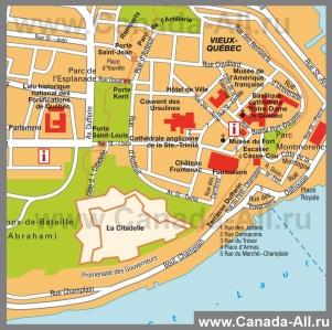 Туристическая карта центра города Квебек