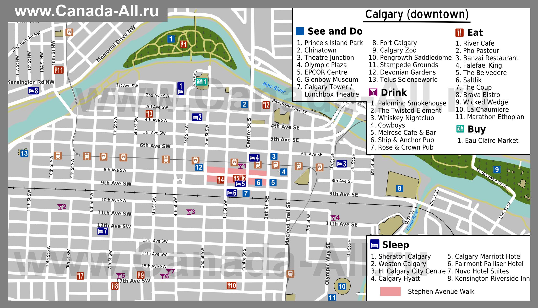 Карты Калгари | Подробная карта города Калгари | Канада: http://canada-all.ru/karty-kanady/karty-gorodov-kanady/karta-kalgari/