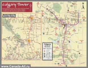 Подробная карта Калгари - Канада