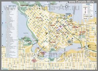 Карта Ванкувера с отелями