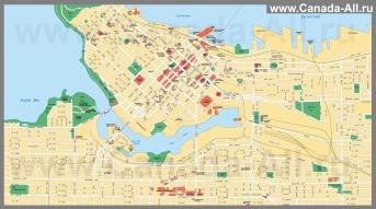 Подробная карта города Ванкувер