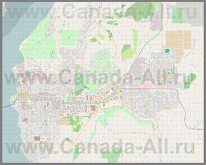 Подробная карта города Келоуна