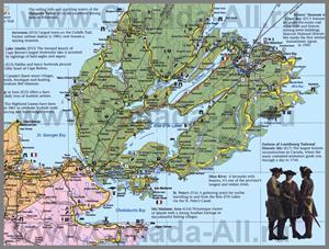 Подробная туристическая карта острова Кейп-Бретон