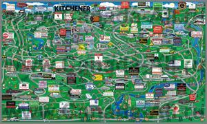 Туристическая карта Китченера с магазинами и ресторанами