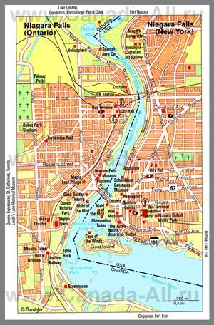 Карта Ниагара-Фолс с достопримечательностями