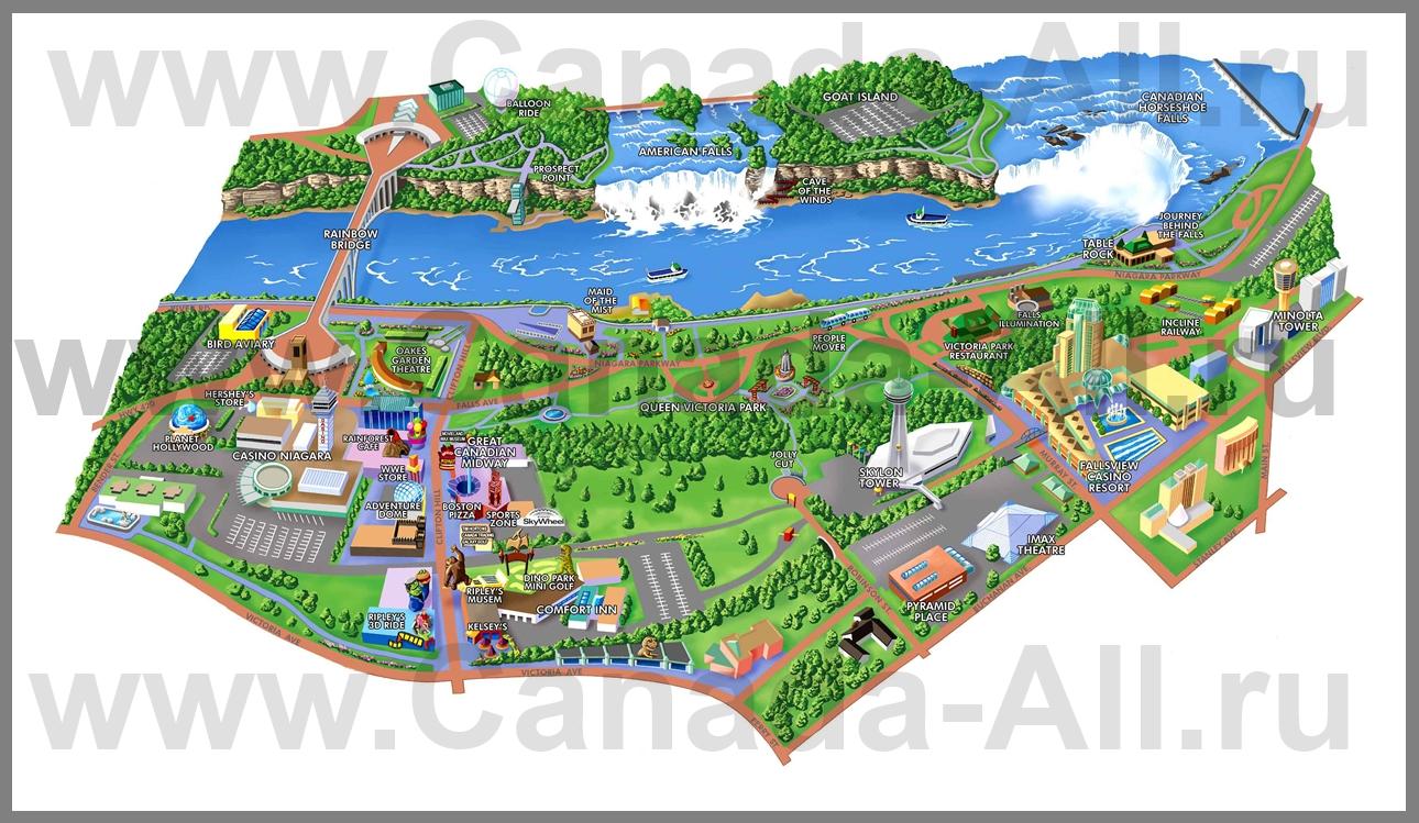 Туристическая карта ниагара фолс с