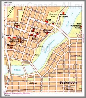 Туристическая карта Саскатуна с достопримечательностями