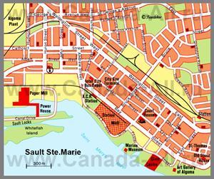 Карта Су-Сент-Мари с достопримечательностями