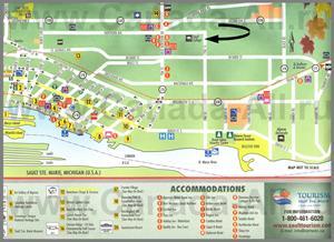 Подробная туристическая карта города Су-Сент-Мари с отелями