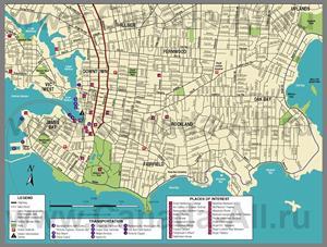 Туристическая карта Виктории с достопримечательностями