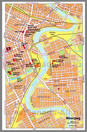 Туристическая карта Виннипега с достопримечательностями