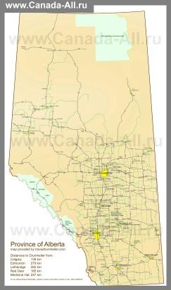 Подробная карта Альберты