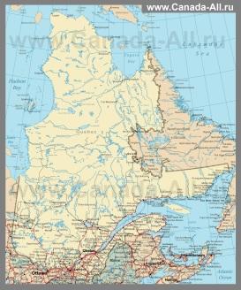 Карта провинции Квебек