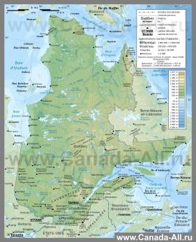 Подробная физическая карта Квебека