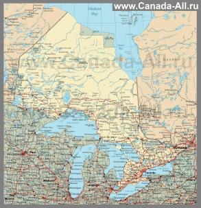 Подробная карта Онтарио