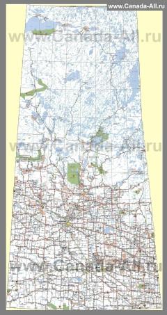 Туристическая карта провинции Саскачеван