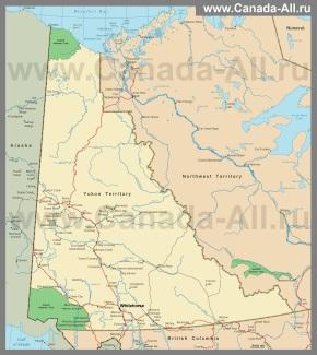 Карта территории (провинции) Юкон
