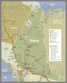 Подробная туристическая карта Юкона