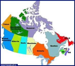 Карта провинций Канады